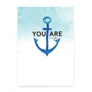 "Tarjetas de joyería ""You are my anchor"" blanco-azul"