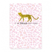 "Tarjetas de joyería ""proud of you"" leopardo blanco-rosa"
